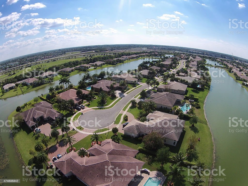 Waterfront homes in Florida aerial view stock photo