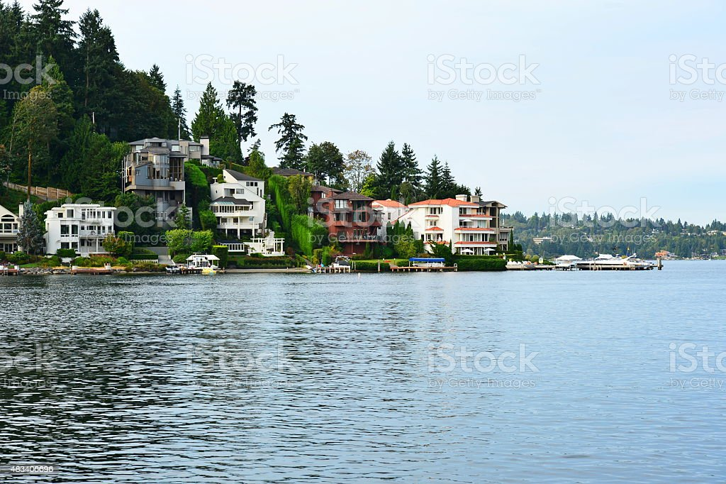 Waterfront homes in Washington State stock photo