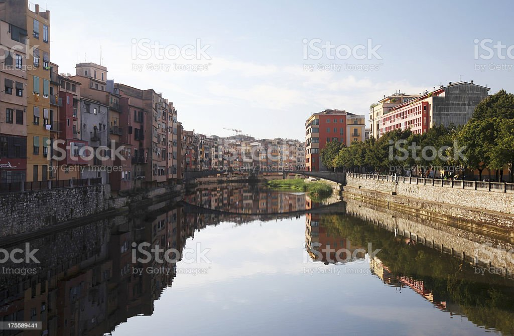 Waterfront Homes on the River Onyar in Girona royalty-free stock photo