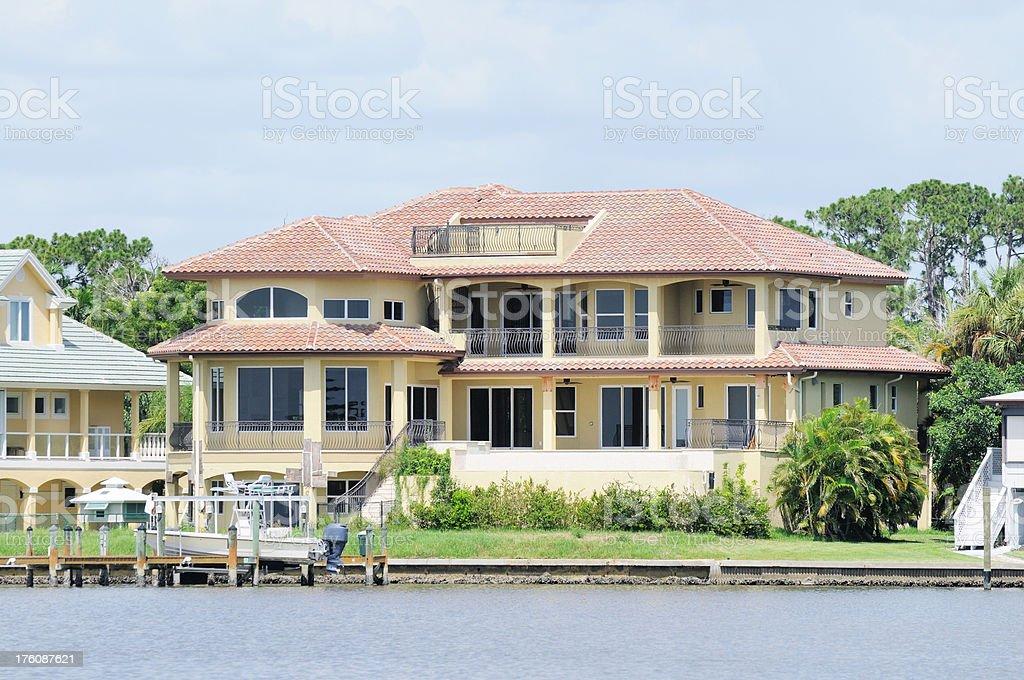 Waterfront Homes San Carlos Bay and Punta Rassa Cove Florida stock photo