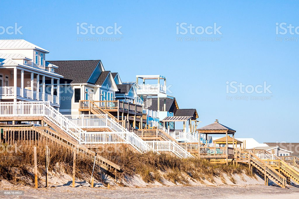Waterfront homes. Surf City, North Carolina. stock photo