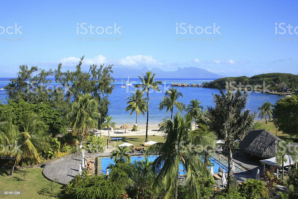 Waterfront Hotel in Tahiti with Pool stock photo