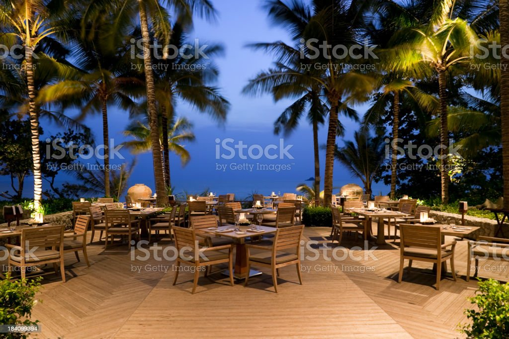 waterfront hotel restaurant outdoors phuket thailand stock photo