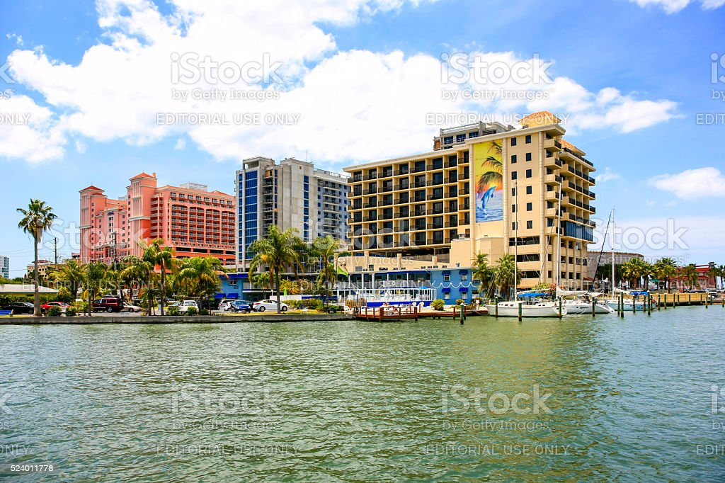 Waterfront hotels at Clearwater beach and marina in Florida stock photo