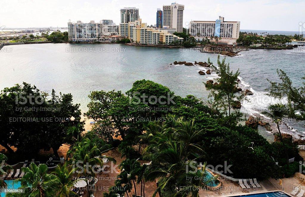 Waterfront hotels in El San Juan stock photo