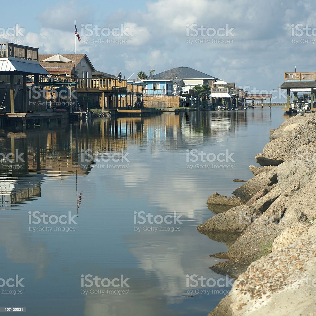 Waterfront  houses stock photo
