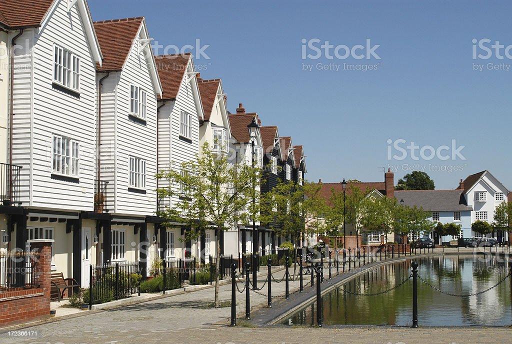 Waterfront housing development, East Anglia royalty-free stock photo