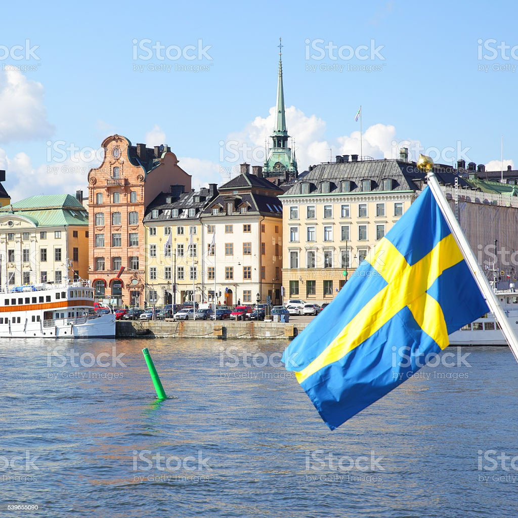 Waterfront in Stockholm stock photo