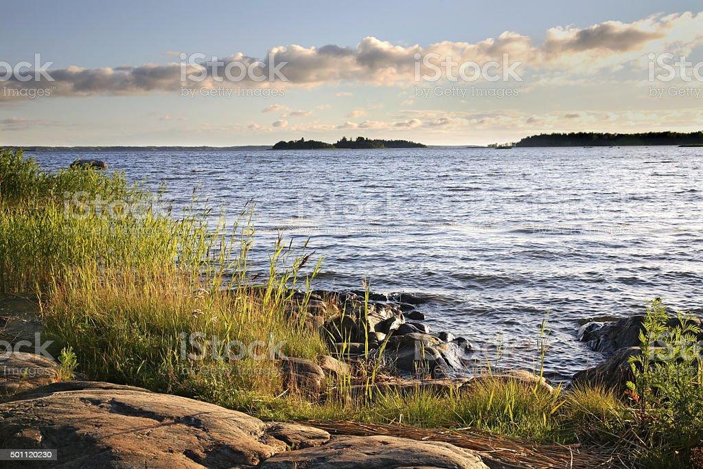 Waterfront in Vaasa. Finland stock photo