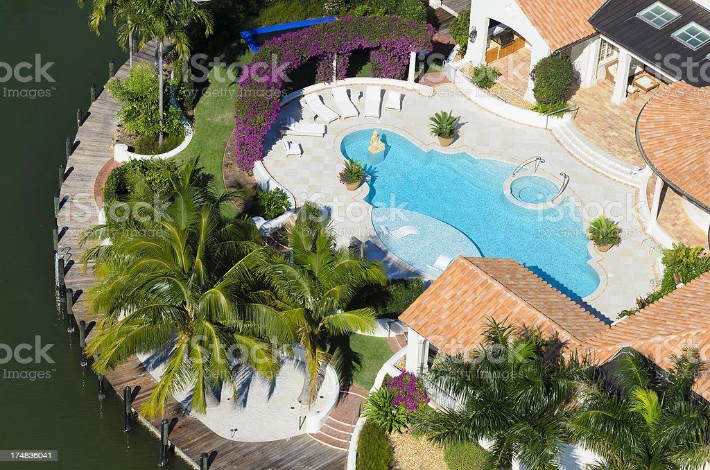 Waterfront Luxury Home stock photo