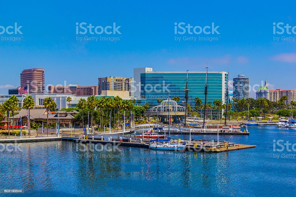 Waterfront marina with skyline of Long Beach , CA  (P) stock photo