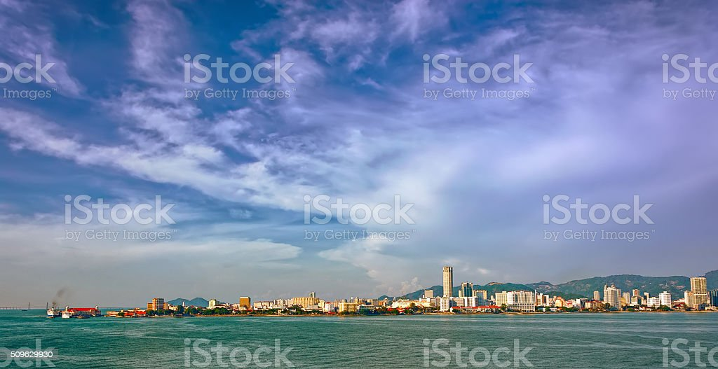 Waterfront of George Town stock photo
