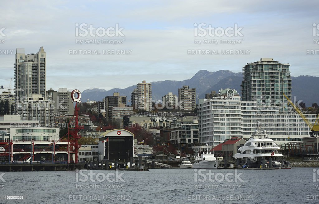 Waterfront of North Vancouver at Burrard Inlet, Canada in Autumn royalty-free stock photo