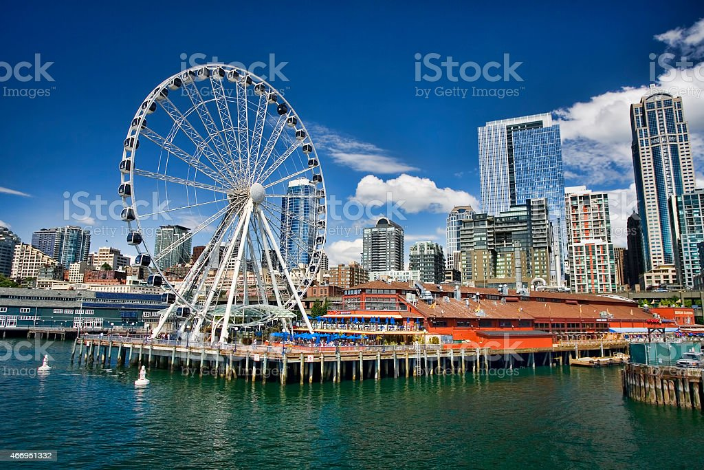 Waterfront of Seattle on a sunny day stock photo