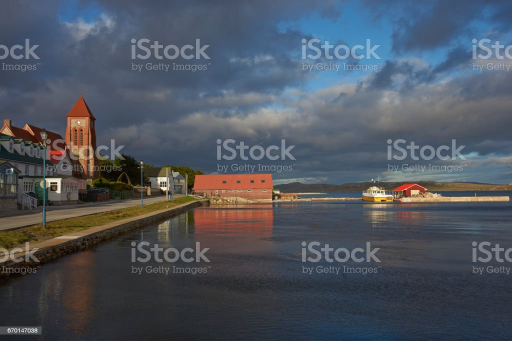 Waterfront of Stanley stock photo