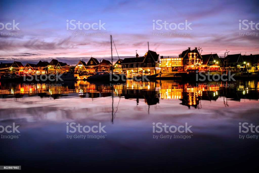 Waterfront of Volendam at night The Netherlands stock photo