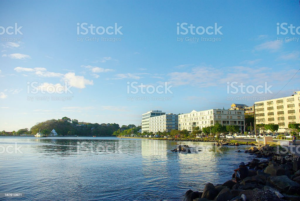 waterfront office buildings in Castries St Lucia stock photo