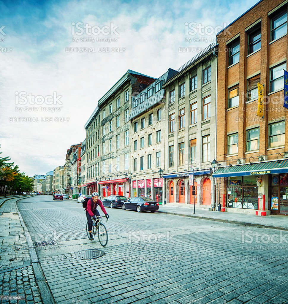 Waterfront Old Montreal street scene early Autumn morning stock photo
