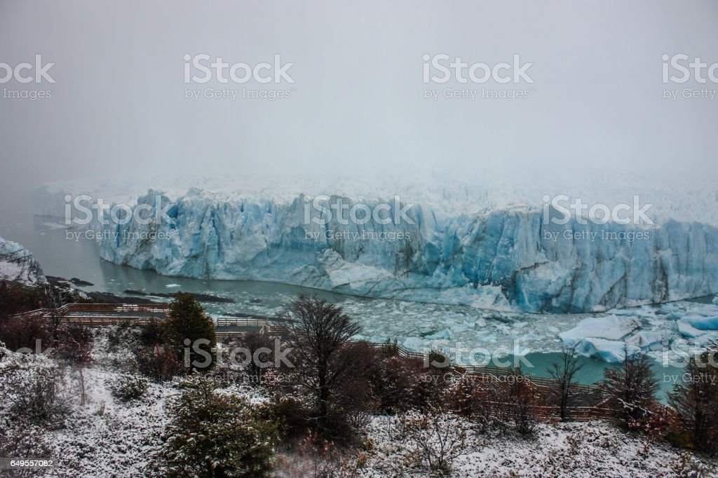 Waterfront on a stormy day at the Perito Moreno Glacier in Patagonia, Argentina. stock photo