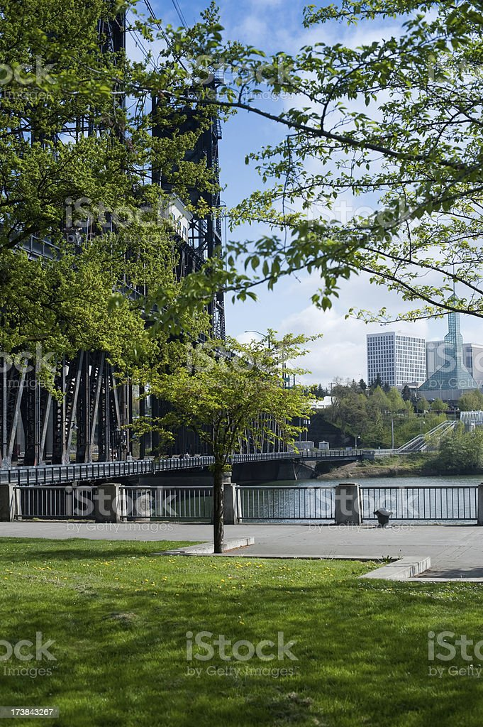 Waterfront Park at Steel Bridge in Portland Oregon stock photo