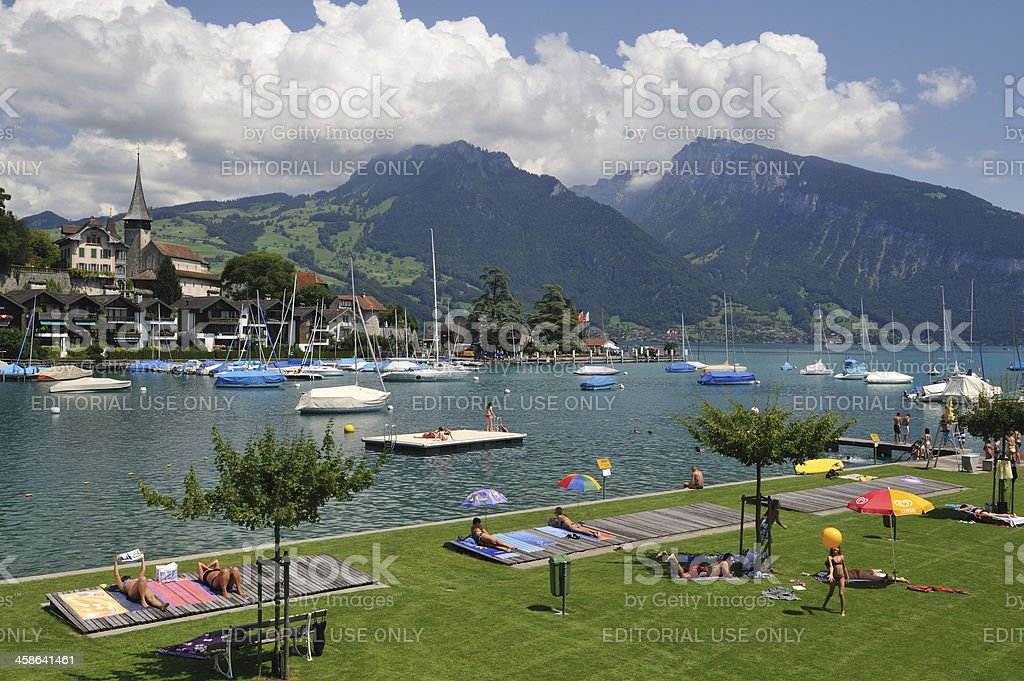 Waterfront Park in Spiez royalty-free stock photo