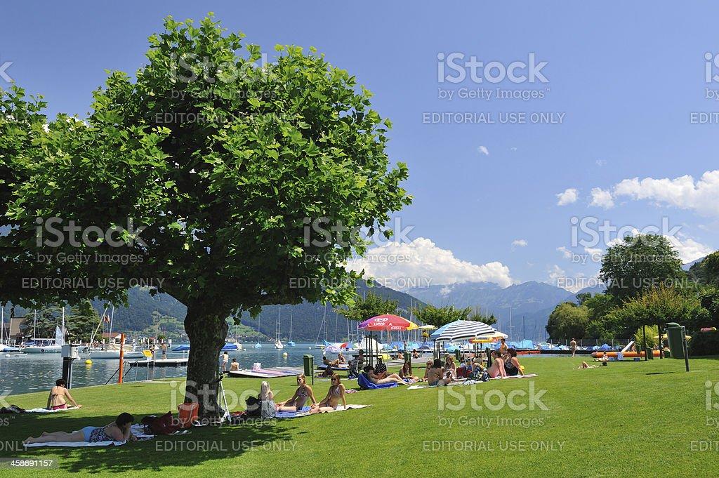 Waterfront Park in Spiez stock photo