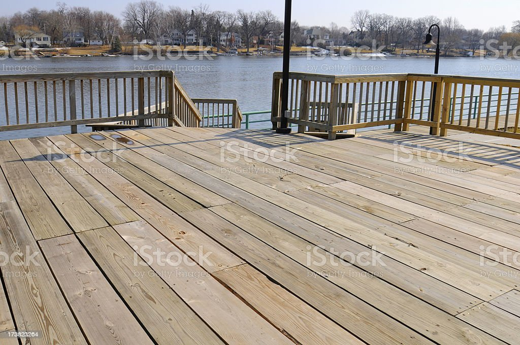 Waterfront Patio Deck stock photo