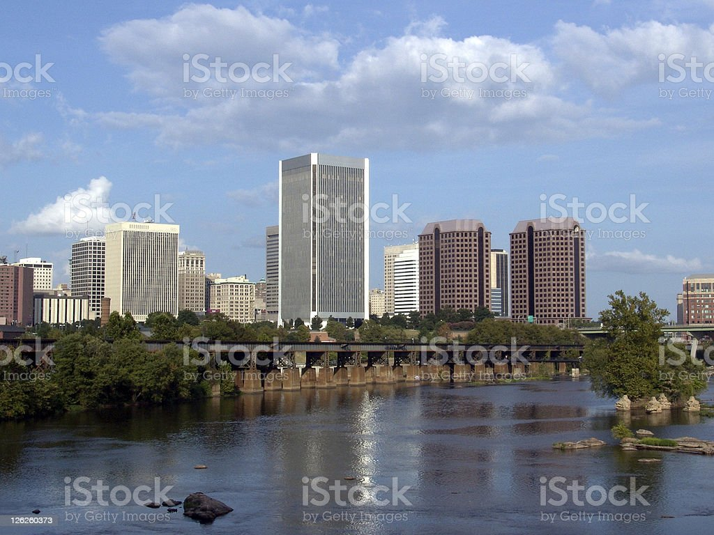 Waterfront picture of city buildings in Richmond, Virginia stock photo