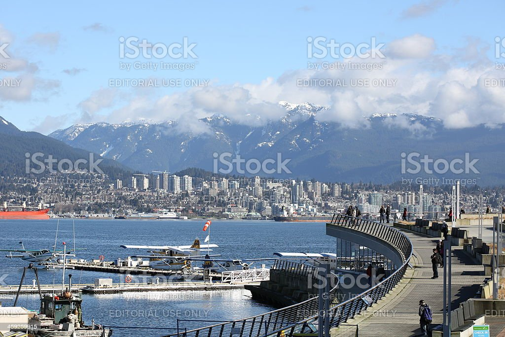 Waterfront Promenade at Coal Harbour, Burrard Inlet, Vancouver, Canada royalty-free stock photo