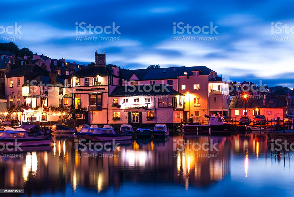 Waterfront Pubs in Falmouth,Cornwall, UK. stock photo