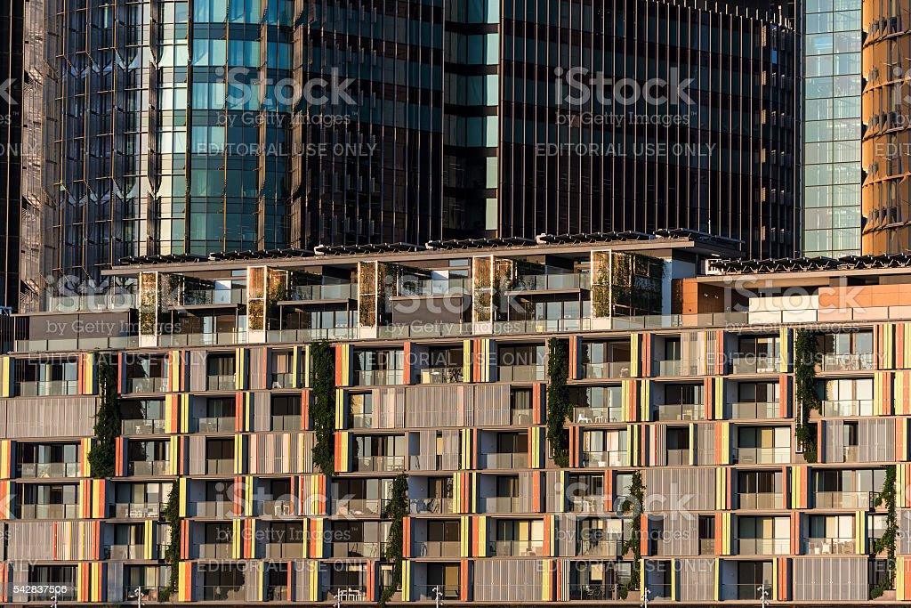 Waterfront residential buildings of Barangaroo against skyscrape stock photo