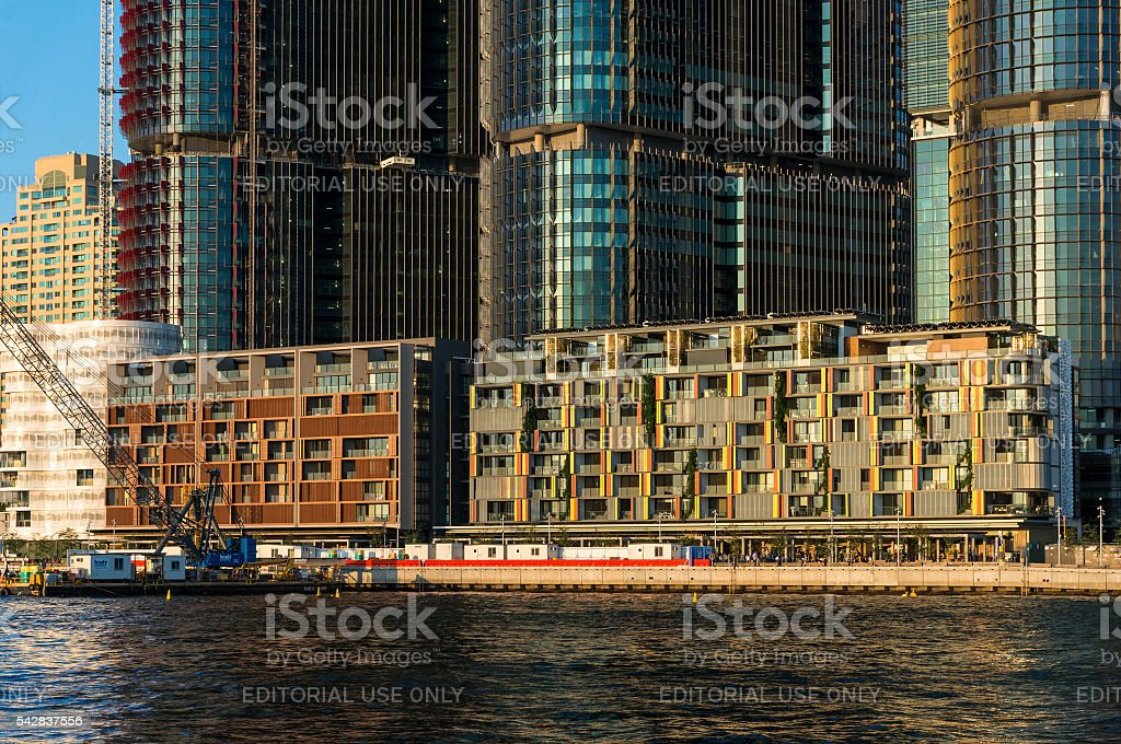 Waterfront residential buildings of Barangaroo against skyscrape stock photo