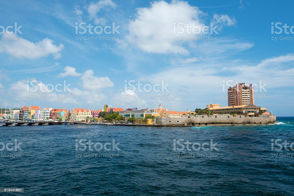 Waterfront shops and cafes in Willemstad, Curacao stock photo