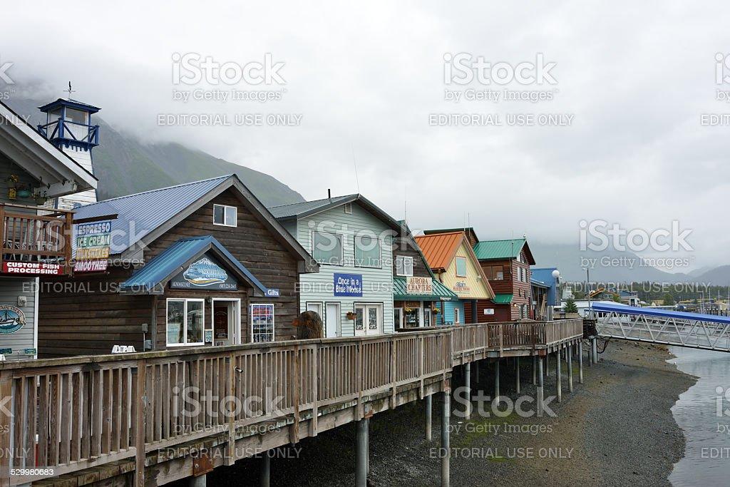 Waterfront shops at Seward of Alaska stock photo