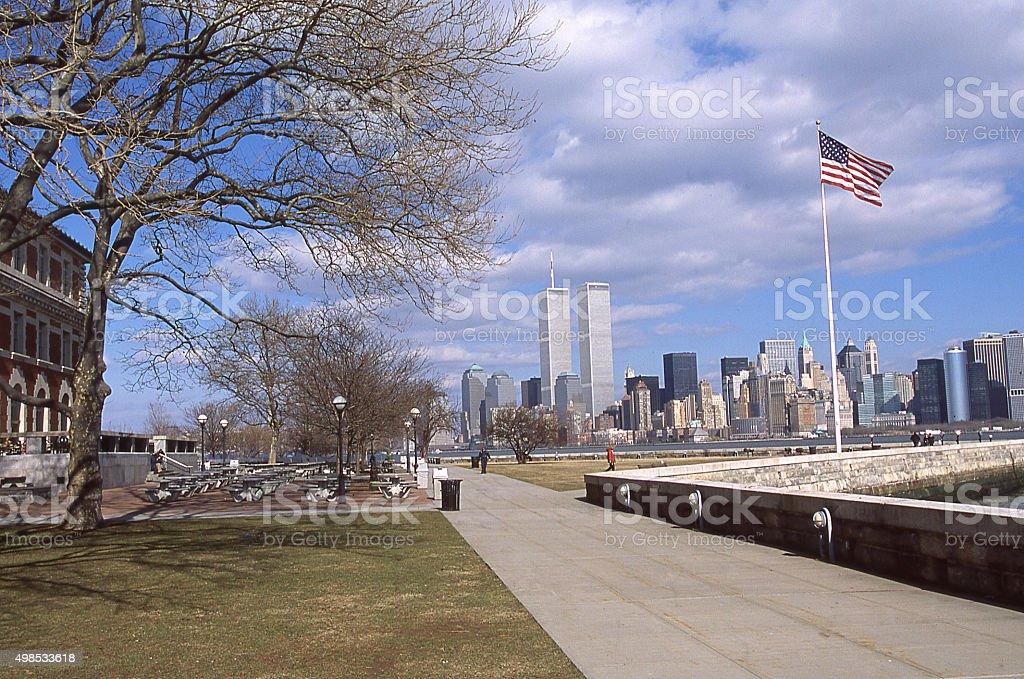 Waterfront sidewalk Ellis Island World Trade Center 2001 before 9/11 stock photo