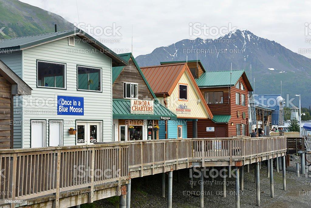 Waterfront Stores at Seward of Alaska stock photo