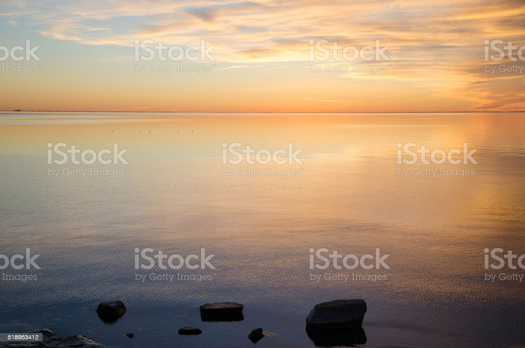 Waterfront view by sunset stock photo