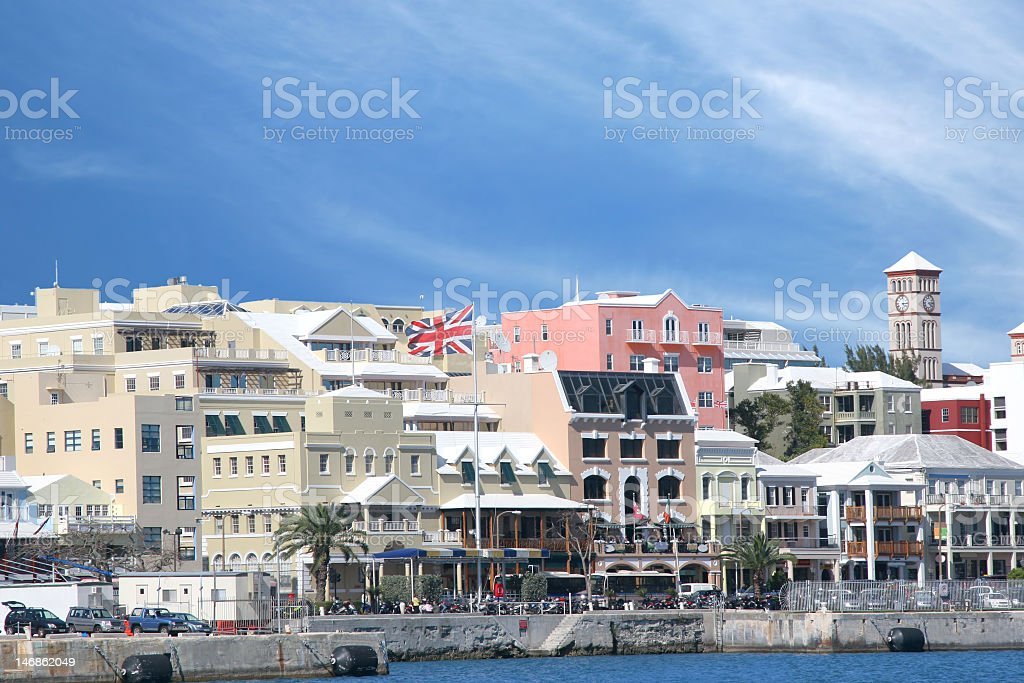 Waterfront view of a Bermuda city stock photo