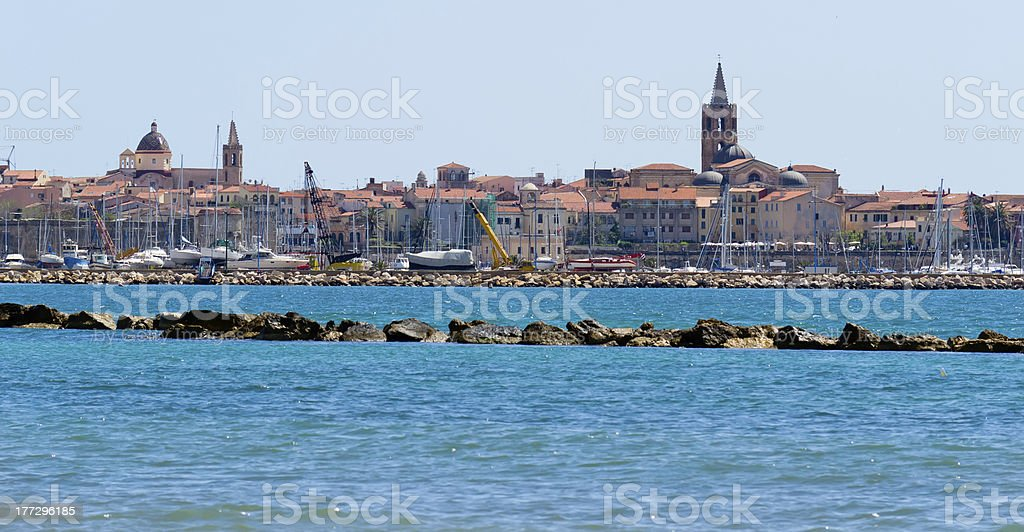Waterfront view of Alghero across the marina stock photo