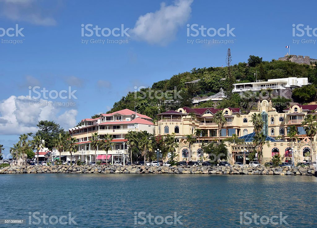 Waterfront view of Marigot, St Martin stock photo