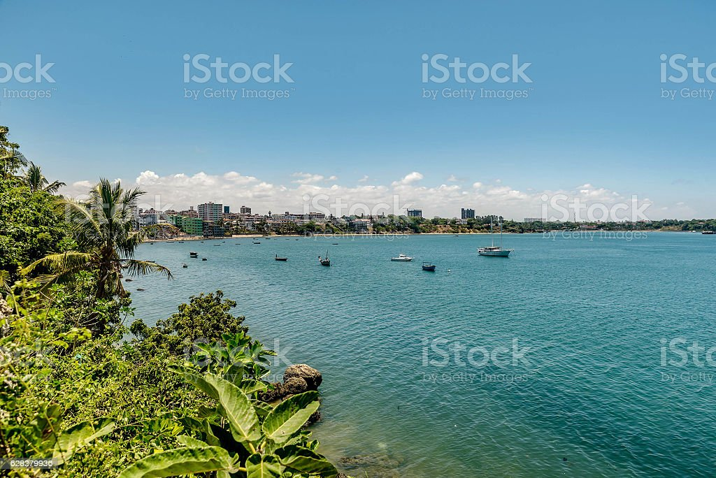 Waterfront view of Mombasa City, Kenya stock photo