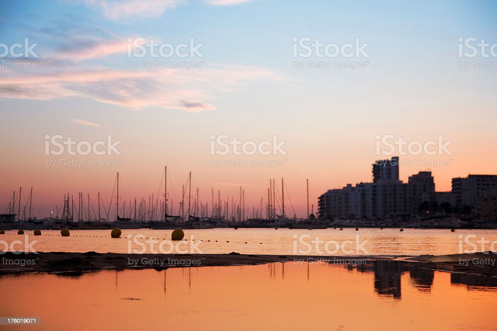 Waterfront view of the marina at Port San Antonio, Ibiza stock photo