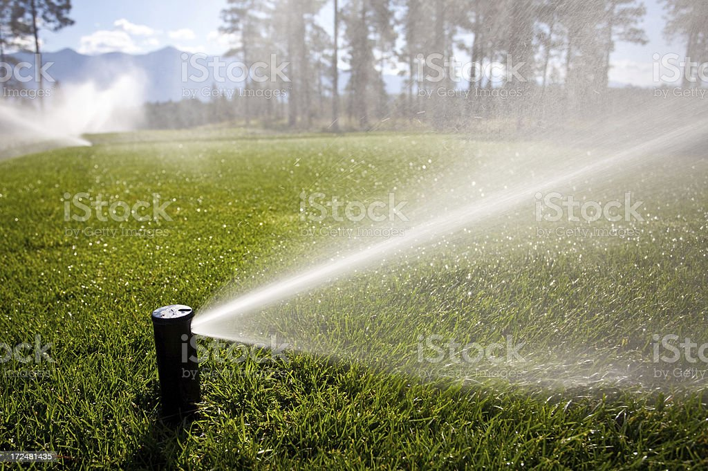 Watering a Golf Course With Sprinkler System stock photo