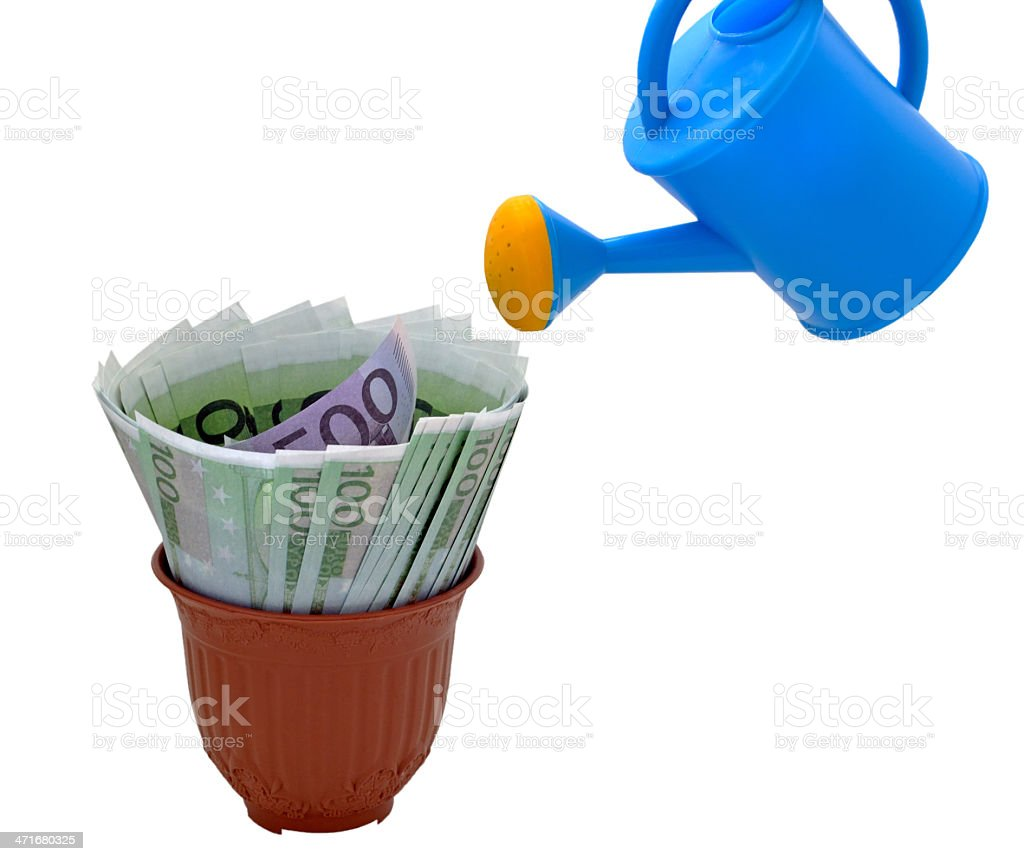 Watering and money in a flower pot royalty-free stock photo