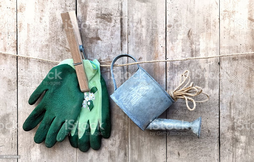 watering can and gloves stock photo