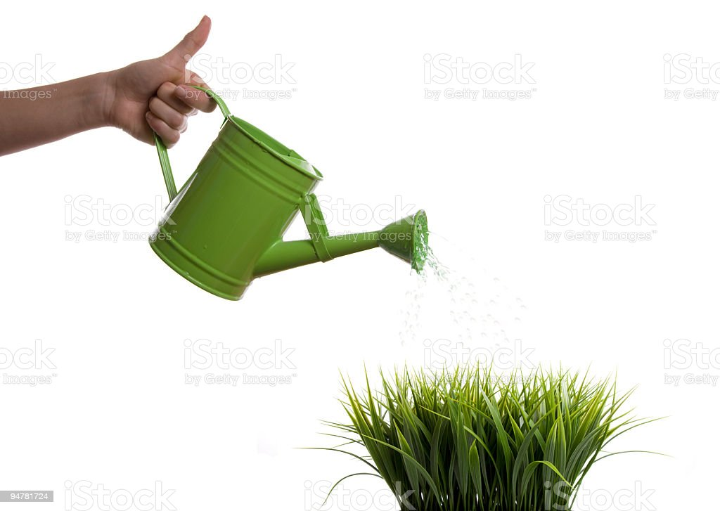 Watering can Grass stock photo
