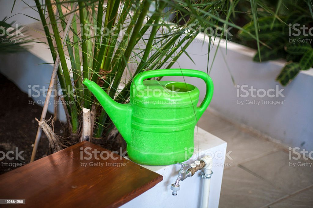 Watering can in  greenhouse stock photo