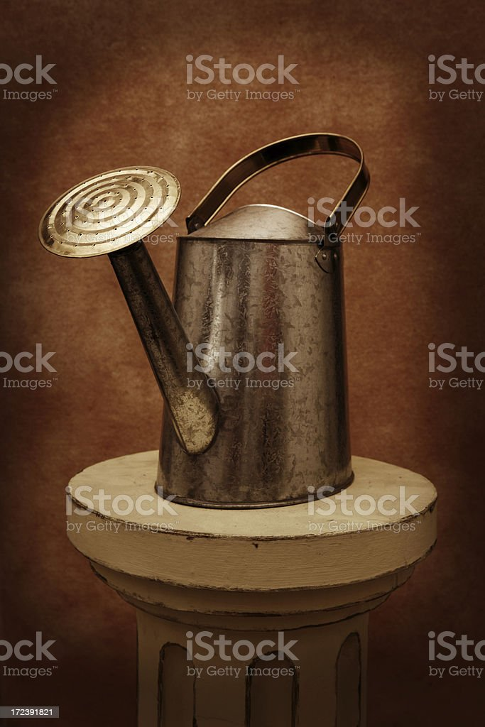 Watering Can on a Pedestal royalty-free stock photo