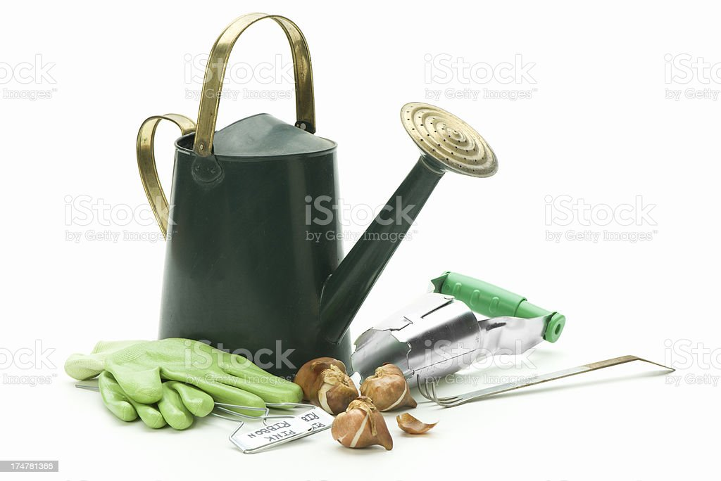 Watering can w/planting supplies stock photo