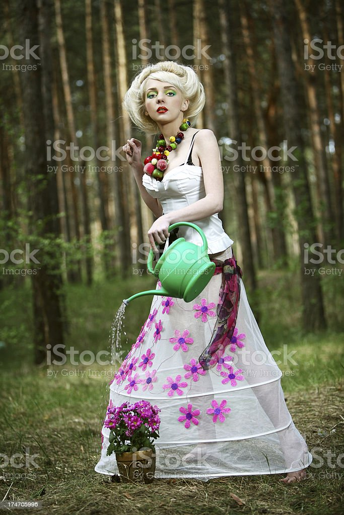 watering flowers royalty-free stock photo